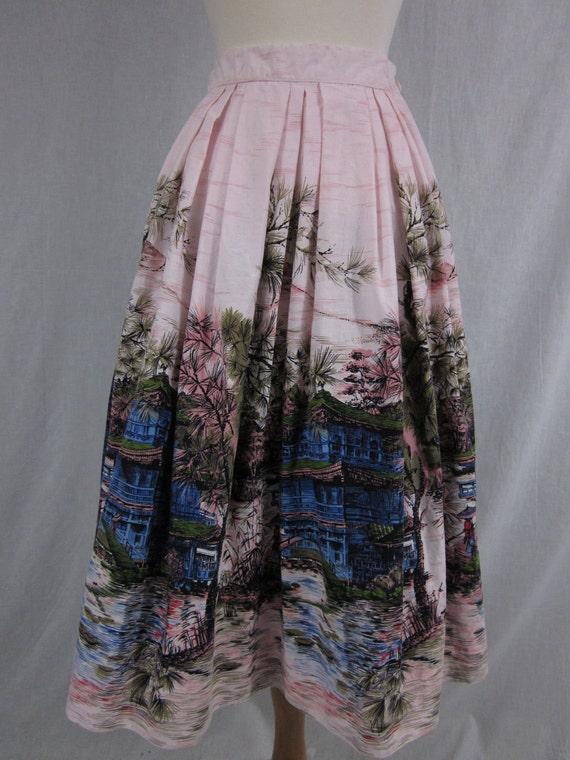 1950s High Waist Circle Skirt with Asian Village Scene