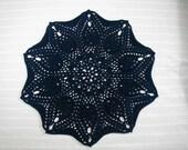 1 Navy Blue Dark Blue Pineapple Doily 11 1/2 inches Hand Crocheted Cotton-Cindy's Loft