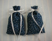 Navy Blue Sachets-'Three Flowers' Fragrance-Navy and White Floral Sachets-White Ribbon-Cotton Fabric Herbal/Botanical Sachet-Cindy's Loft