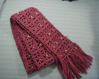 Beaded Mauve Scarf-7 yards and 10 inches long X 4 inches wide- Plum Machine Washable Fringed Scarf-Hand Crocheted-Cindy's Loft