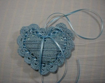 "Light Blue 4""X4"" Sachet-'Blue Raspberry Slushie'-Heart Sachet-Herbal Hand Crocheted Sachet-Cotton and Satin-Cindy's Loft-510"