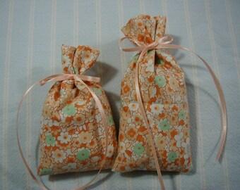 "Peach 3.5""X2"" & 3""X2""Sachet-'Cindy's Loft' Fragrance-Green Sachet-Orange Sachet-Cotton Fabric Sachet-Hand Blended-Cindy's Loft-070"