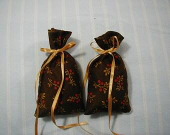 "Dark Brown 3""X2"" Sachet-'Cindy's Loft' Fragrance-Burgundy/Gold Twig Sachet-Cotton Fabric Herbal Sachet-Gold  Ribbon-Cindy's Loft-050"