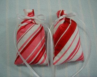 Valentine Pink Sachet-'Jovan Musk'(type) Fragrance-Red and White Sachet-White Ribbon-Cotton Fabric Sachet-2 Herbal Sachets-Cindy's Loft