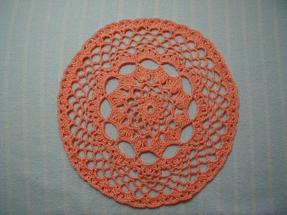 Light Orange Doily-7.5 inch Doily-Peach Doily- Small Doily-Hand Crocheted Cotton Doily- Cindy's Loft