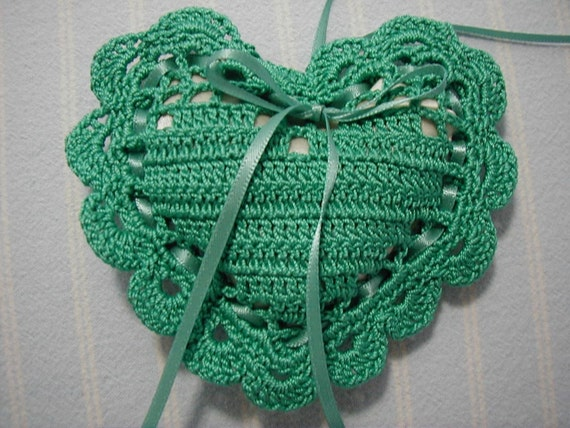 Jade Green Sachet-'Cinnamon Spice' Fragrance-Herbal Heart Sachet-Hand Crocheted-Cotton and Satin-Cindy's Loft