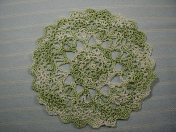 Moss Green Doily-7 inch Doily-Snowflake Doily-Varigated Moss Green Doily-Hand Crocheted Cotton Doily-Cindy's Loft
