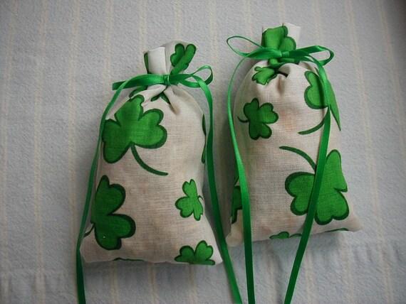 White and Green St. Patricks Sachet-'Raspberry Delight' Fragrance-'Shamrock'Print Sachet-Cotton Fabric Sachet-Green Ribbon-Cindy's Loft