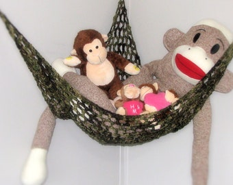 Crocheted Toy Hammock Stuffed Animal Net - Nursery and Childrens Room Storage in Camouflage