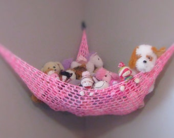 Toy Hammock Stuffed Animal Net - Nursery and Childrens Room Storage in Pink and White
