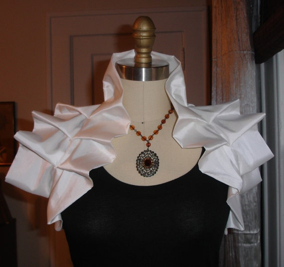 RESERVED for Krista- WHITE Tafetta Victorian Inspired Shoulder Wrap w Flower Corsage