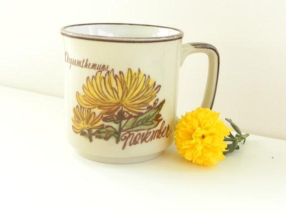 November Birthday Chrysanthemum Mug Cup