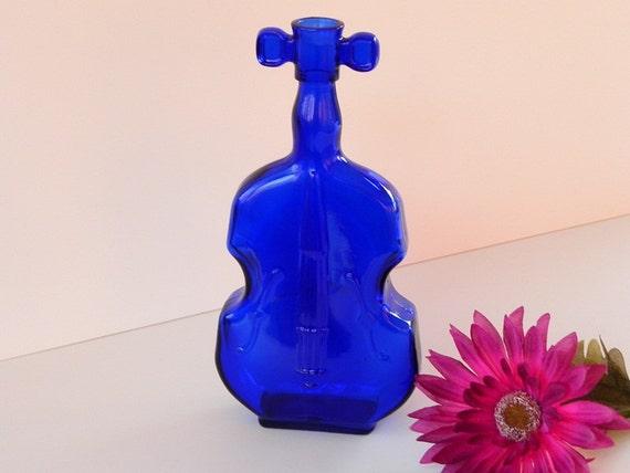 Cobalt Blue Maryland Glass Violin Vase Bottle