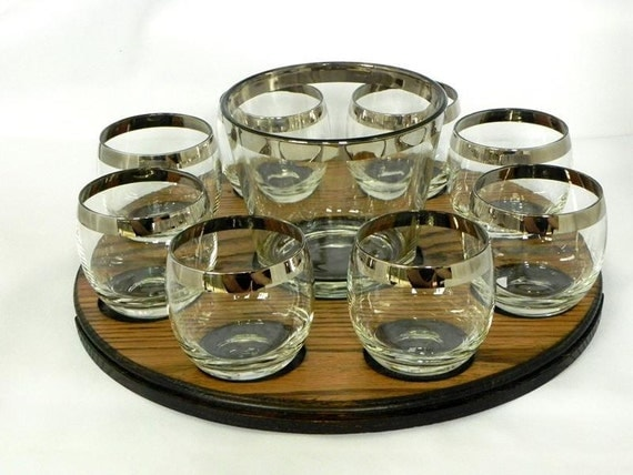 Mid Century Dorothy Thorpe Era Roly Poly Silver Rim Glasses And Ice Bucket With Tray Set. Mad Men Style.