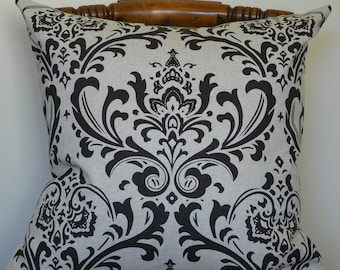 Dark Chocolate Damask Pillow Cover