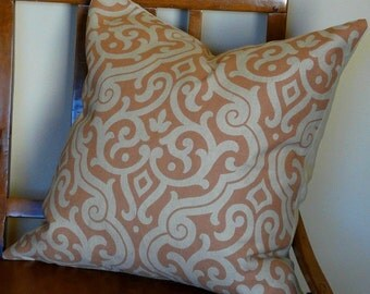 Rose Pink Arabesque Linen Pillow Cover