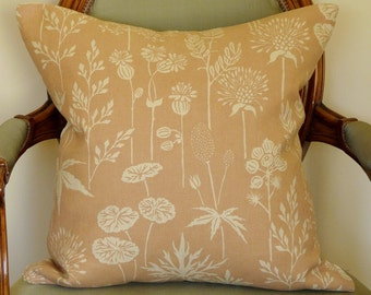 Blush Linen Flowers Pillow Cover