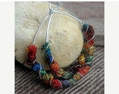PRE HOLIDAY SALE Autumn Rainbow Sleeper Hoops-Sterling Silver