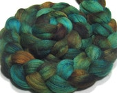 Merino/tussah silk roving 4.3 oz Coral Reef