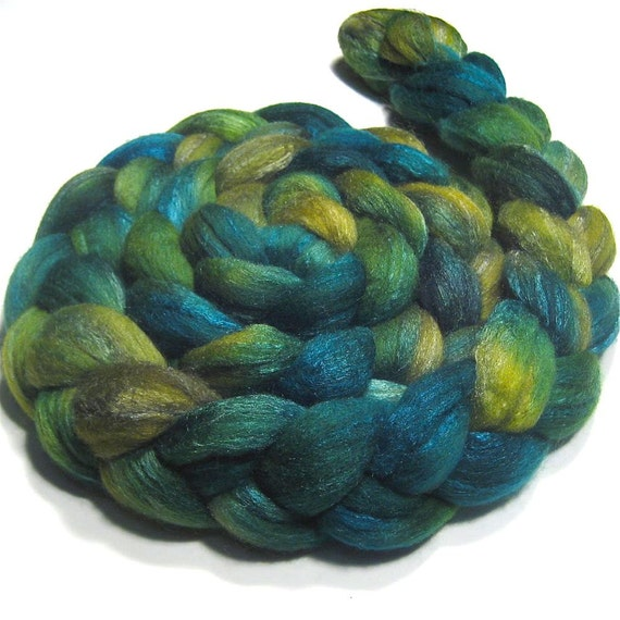 Merino/tussah silk roving 4.1 oz Spring Leaves - Black Friday Etsy Cyber Monday Etsy Sale