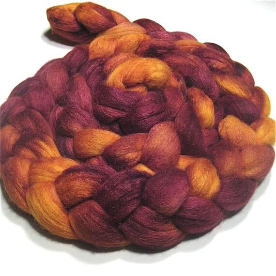 Merino/tussah silk roving 4.4 oz Midnight Desert