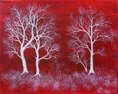 Four Trees on Red - 8 x 10 - Original Acrylic Abstract Landscape on Canvas...Check Shop Sale