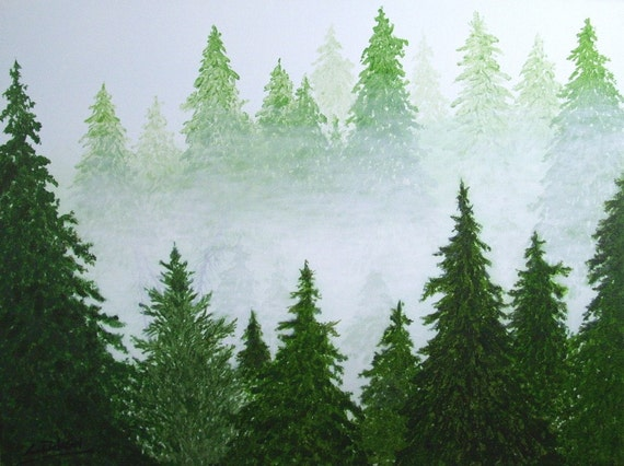 Large abstract landscape tree original painting by lendickson for Painting a forest in acrylics