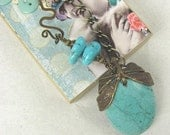 """Necklace """"Dragonfly Dreams"""" Pendant Necklace with Gemstone and Brass Dragonfly"""