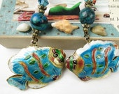 Deocrative Chain Pull Pair with Cloisonne Fish Bead