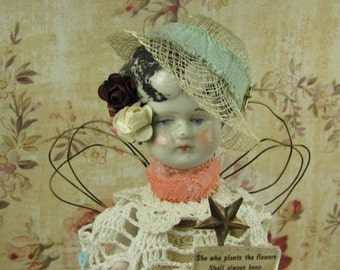 """Angel """"She Who Plants the Flowers"""" Assemblage Art Doll"""