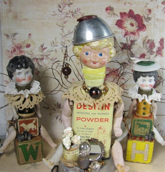 "RESERVED for FEDERICA Doll ""Baby Powder"" Assemblage Art Angel SALE reduced 35%"