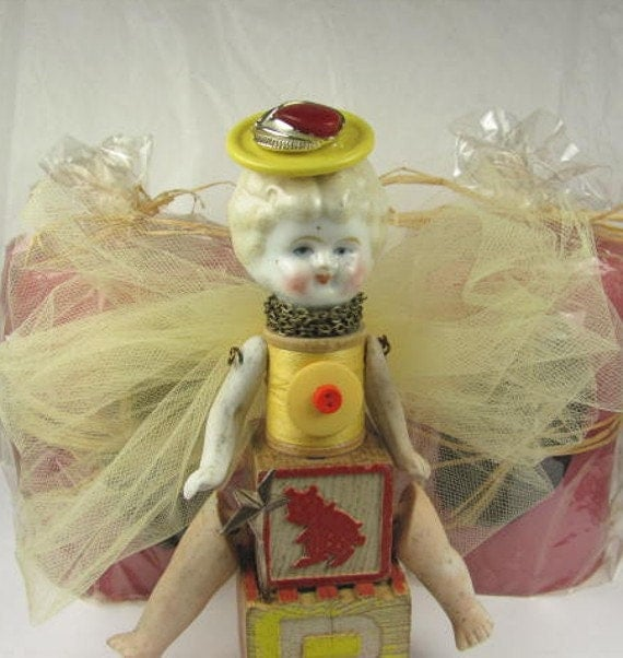 "Angel ""This Little Piggy"" Assemblage Art Doll"