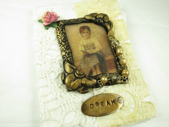 Mini Journal with Antique Linen and Decorative Frame
