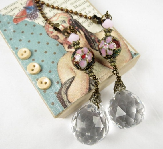 Deocrative Chain Pull Pair with Leaded Crystal Drop and Cloisonne Bead