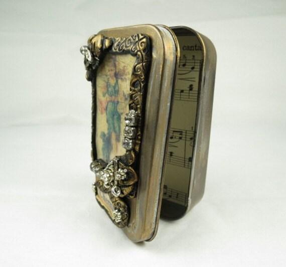 "Altered Altoid Tin ""Cherish""  Decorative Presentation or Trinket Tin"