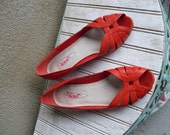 Lipstick Lady Peeptoes - Vintage Low Wedge Flats - (Size 7.5)