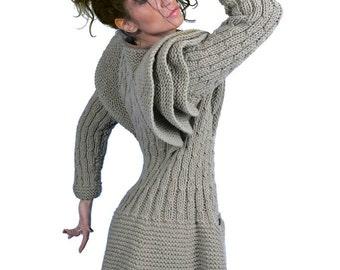 Loose Knit, Gray Cardigan, Warm Cardigan, Hand Knitted Cardigan, Winter Cardigan, Women Pullover, Avant Garde, Women Long Cardigan