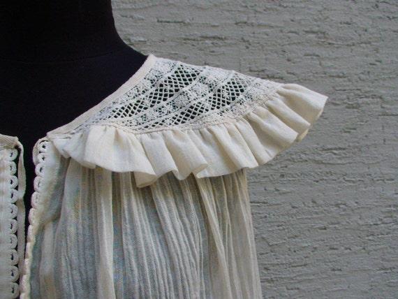 SALE Cotton top with lace decoration, Sz S