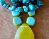 Turquoise necklace with olive jade pendant