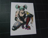 Roller Derby Girl Hand Colored ACEO Print