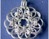 Chainmaille Kit with Tutorial - Parallel Helm Flower Pendant in Argentium Sterling Silver