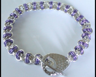 Chainmaille Kit with Tutorial - Luscious Lavender - Orbital Weave Chain Maille Bracelet in Non Tarnish Silver Plate Jump Rings