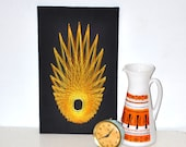 Awesome 1960s Orange Atomic Mid Century Star Burst Shaped Thread String Art Picture