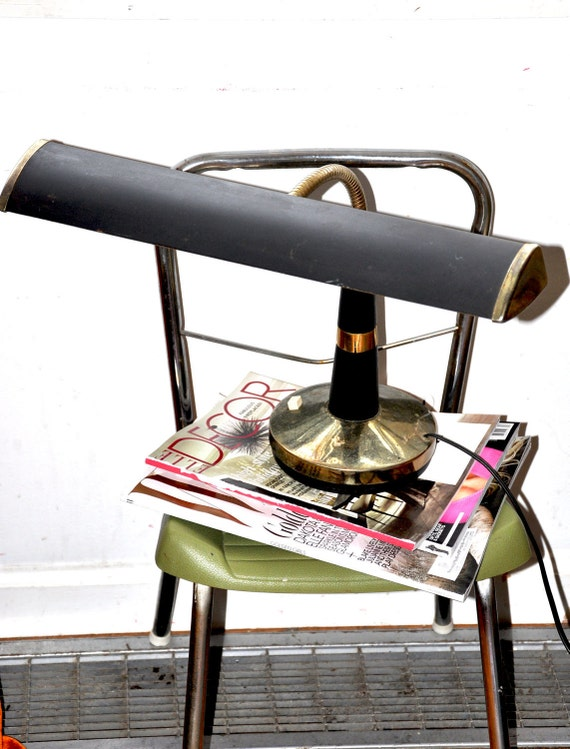 """Great 1960s Designer """"Imar"""" Black and Gold Coffee Table Desk Lamp"""
