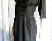 Vintage 1950's Gorgeous Black Wiggle Dress