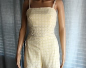 Amazing 1960s Vintage Yellow Eyelet Bathing Suit Romper Play Suit-ON SALE