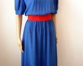 Vintage 1980's Blue & White Dress