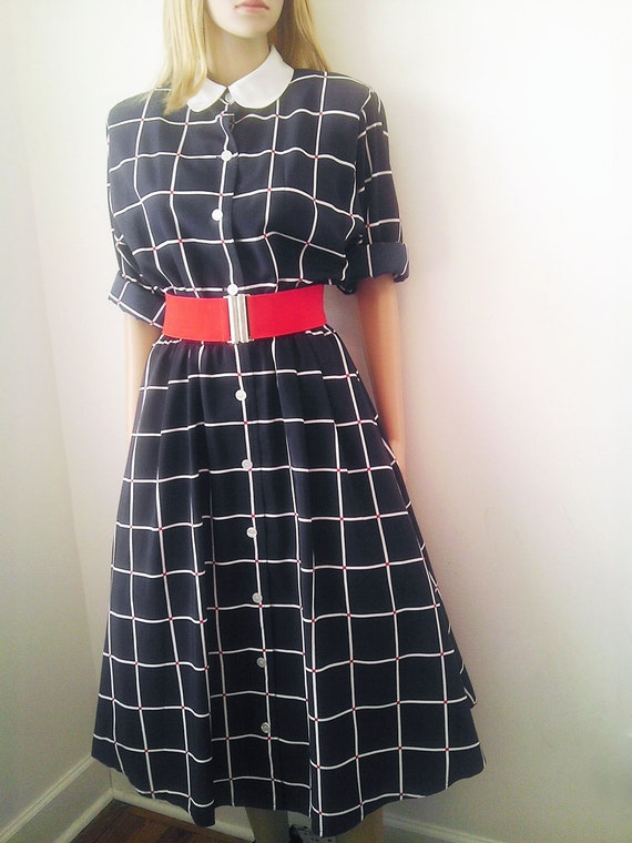 Vintage 1940's -50's Style Red, White & Blue Dress