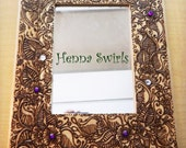 Mirror with Henna Art, Color Me Purple - 5x7 frame, Original, Henna Swirls