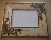 Henna Picture Frame - One of a Kind - Original - Henna Swirls- Modern Art